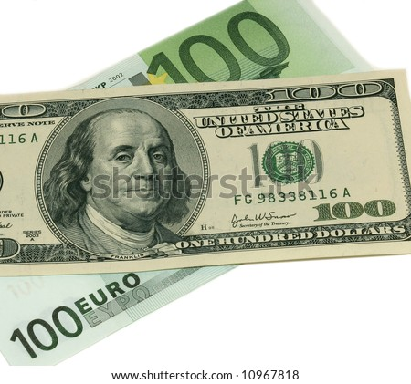 100 euro versus 100 us dollar bills stock photo 10967818 shutterstock. Black Bedroom Furniture Sets. Home Design Ideas