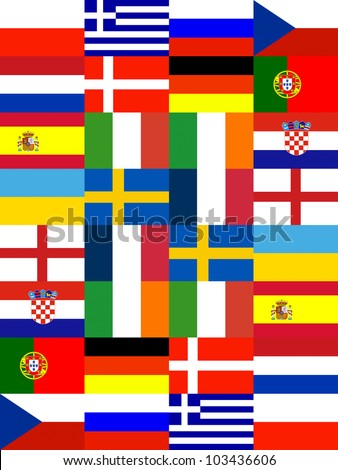 16 Europe National flag Pattern background