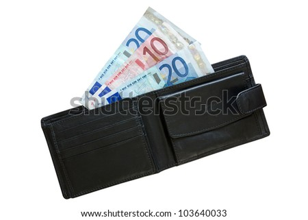 euros in leather wallet isolated on white background