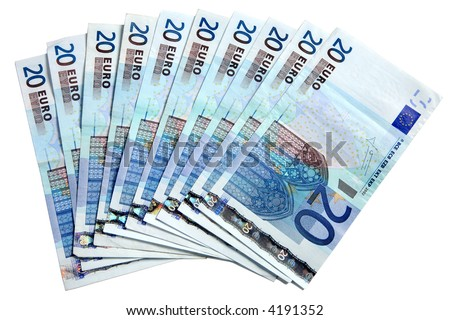 20 Euros notes fanned out on a white background. #4191352