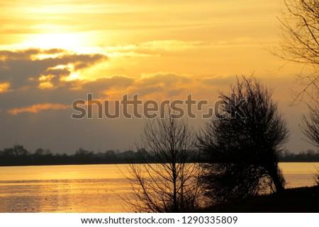 Evening atmosphere at the lake, Bavaria, Germany, Europe #1290335809