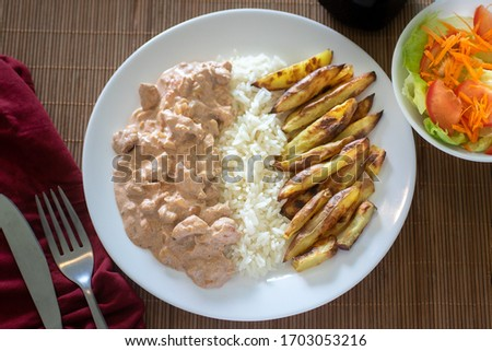 executive dish of stroganoff with fries Foto stock ©