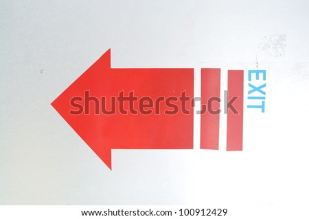 exit sign on white