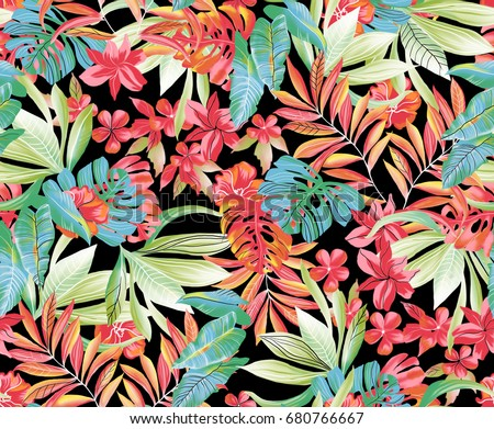 exotic floral pattern on black background.