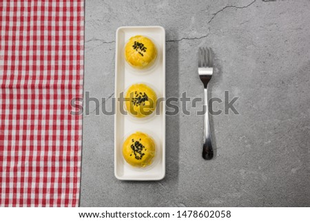 Exquisite layout of desktop layout Asian traditional gourmet pastry top view #1478602058