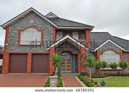 Exterior facade of a Australian home, Cloudy day