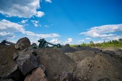 Extraction of basalt rock. Breakage of gravel.