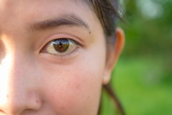 Eyes and brows of Asian women in Thailand