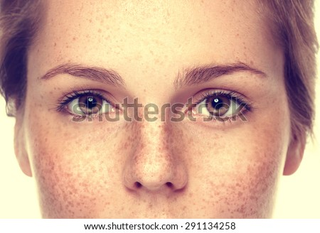 Eyes Woman freckle happy young beautiful studio portrait with healthy skin - Shutterstock ID 291134258