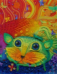 fabulous cat, lives in a plasticine, fairy tale, molded from plasticine