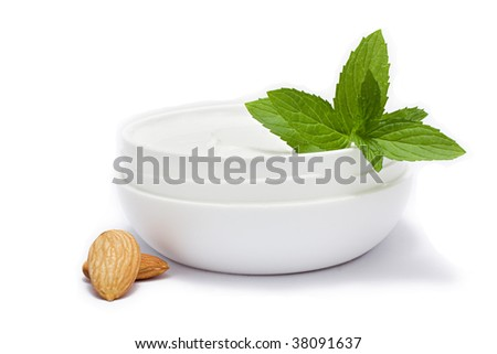 face cream , mint and almond - stock photo