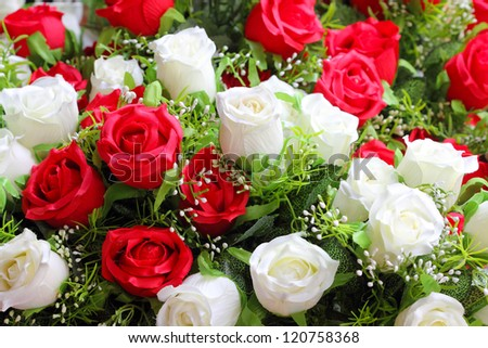 fake roses, floral background - stock photo