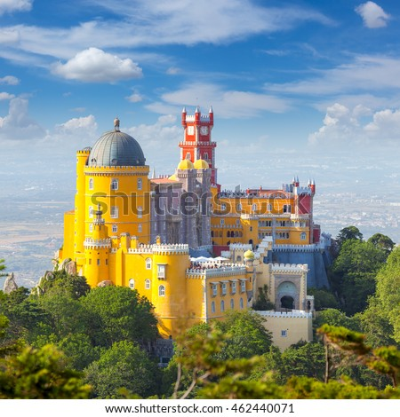 Shutterstock  Famous Landmark - Nacional Palace of  Pena and blue sky - Sintra, Lisboa, Portugal, Europe