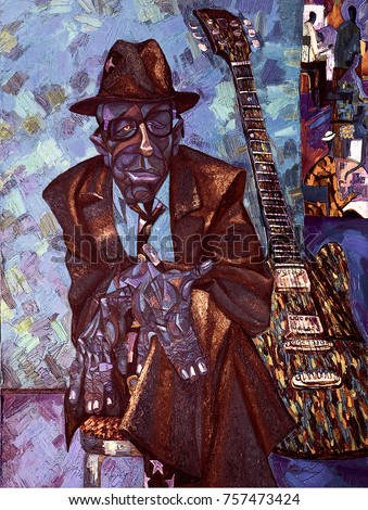 famous musicians, celebrities of jazz,oil painting, artist Roman Nogin, series
