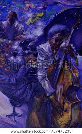 famous musicians, celebrities of jazz,oil painting, artist Roman Nogin, series