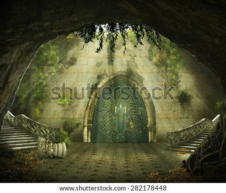 fantasy cave with a ruined castle inside, marble staircase and a painting