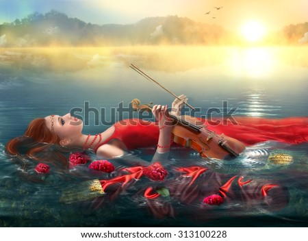 Stock Photo  Fantasy Musical inspiration on morning nature. imagination. The woman under water plays a violin