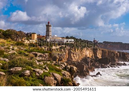 Farol da Guia is a lighthouse located in Cabo da Guia,Cascais Foto stock ©