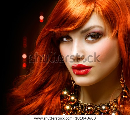 Fashion Red Haired Girl Portrait . Jewelry - stock photo