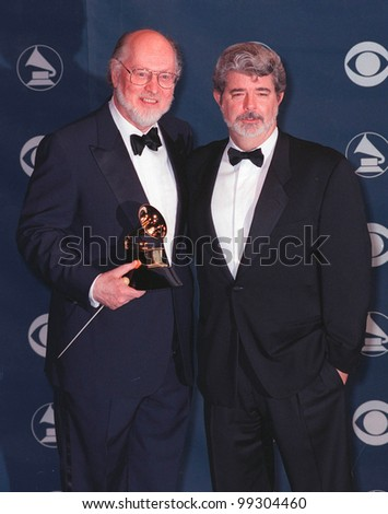 24FEB99: Musician JOHN WILLIAMS & director GEORGE LUCAS at the 41st Annual Grammy Awards in Los Angeles.  Paul Smith / Featureflash