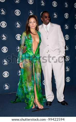 "23FEB2000: Pop star/actress JENNIFER LOPEZ & rapper boyfriend SEAN ""PUFFY"" COMBS aka P. DIDDY at the 42nd Annual Grammy Awards in Los Angeles.  Paul Smith / Featureflash - stock photo"