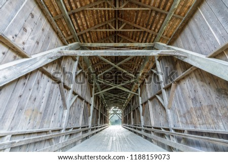 1892 Felton Covered Bridge. The Felton Covered Bridge is a covered bridge over the San Lorenzo River in Felton, Santa Cruz County in the U.S. state of California. #1188159073