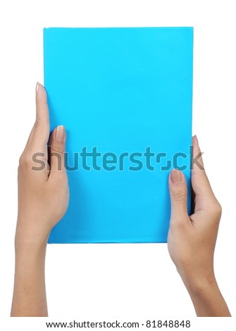 female hand holding a blank paper blue isolated on white background