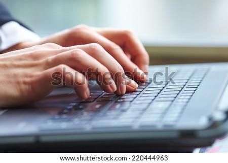female hands on keyboard #220444963