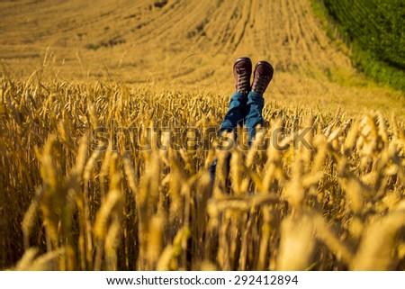 female legs on wheat field