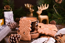 Festive decor, Speculaas koekjes and espresso for st. Nicolas . Dutch holiday Sinterklaas traditional sweets gingerbread cookies. 5th December holiday in the Netherlands.