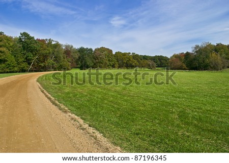 """Field and Trail"" Blue skies, green grass and a dirt road, early Autumn in Central New Jersey."