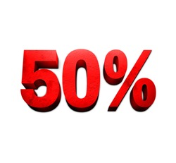 50%, fifty percent three dimensional red text sign on white background with soft shadow