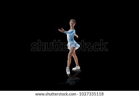 figure skater isolated on black #1027335118