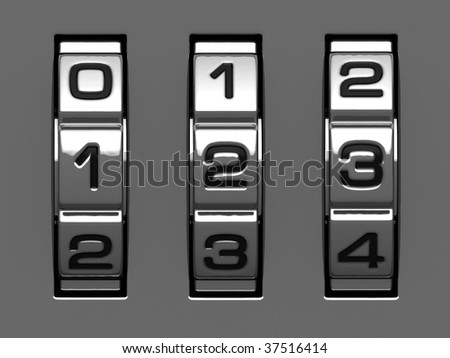 1, 2, 3 figures from combination lock alphabet