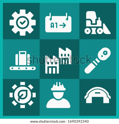 9 filled engineering icons set related to technician with helmet, gear, hangar, conveyor, bulldozer, configuration, factory, gate pixel perfect icons.