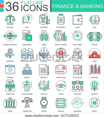 Finance and banking modern color flat line outline icons for apps and web design.