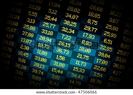 Financial data- stock exchange- dramatic spotlight