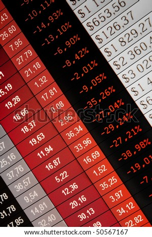 Financial data- stock exchange - red screen symbolizes losses