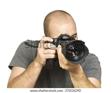 fine portrait of young photographer caucasian man on white background - stock photo