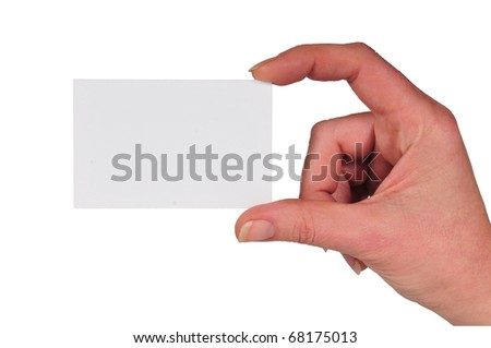 """fingers of a hand holding a card in white   """