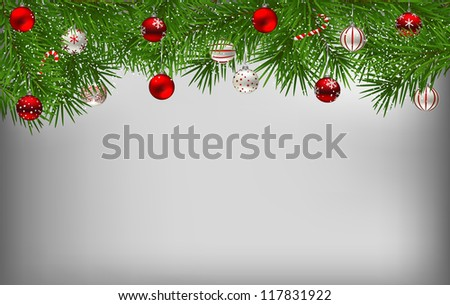 Fir branches covered with snow and decorated with Christmas baubles #117831922