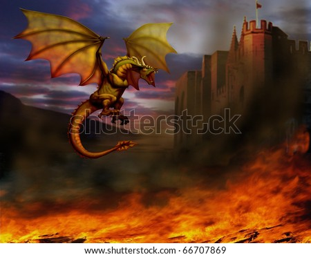 fire-breathing dragon flying around the castle, and around on the ground is burning all