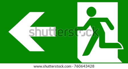 fire emergency icons. Signs of evacuations. Fire emergency exit in green.