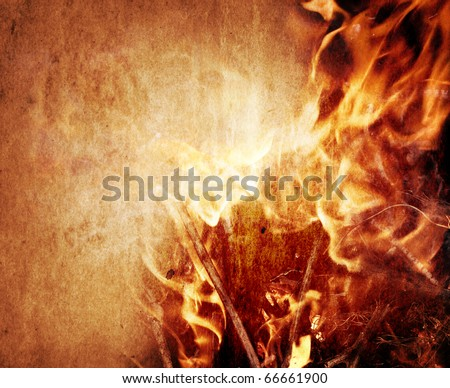 Fire image on an ancient paper