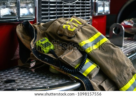 Firefighter coat on the fire truck