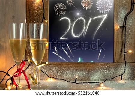 2017 firework display through a window  #532161040