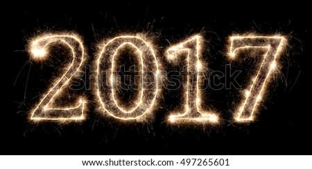 2017 firework sparkler bright glowing new years eve font lettering number date #497265601