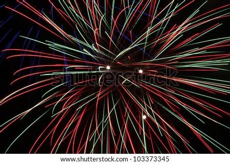 Fireworks in front of black background