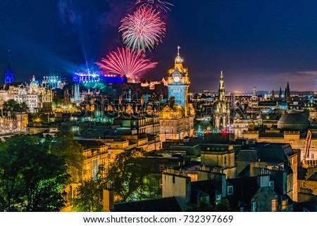 Fireworks on the City of Edinburgh In Scotland England during 'Edinburgh Military Tattoo, Military Parade taking place on the Great Edge of Edinburgh Castle