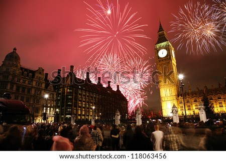 2012, Fireworks over Big Ben at midnight